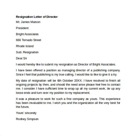 Director Resignation Letter Sle by Sle Resignation Letter Exle 10 Free Documents In Word Pdf