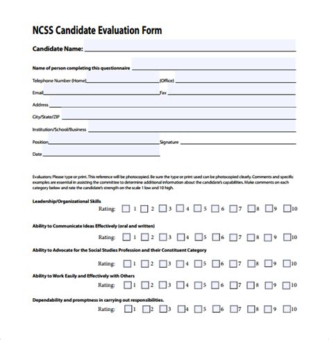 candidate application form template candidate evaluation form