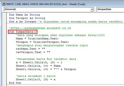 metode input vba macro excel agung tutorial