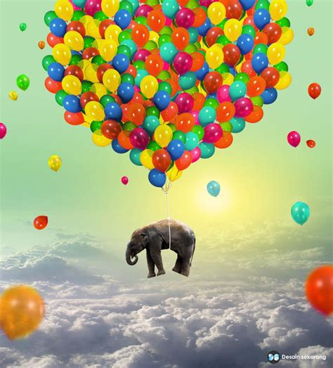 tutorial photoshop cs5 manipulasi membuat gajah terbang dengan balon desain sekarang
