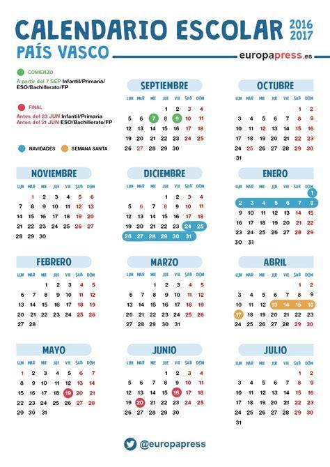 calendario vasco calendario escolar 2016 2017 en euskadi navidad semana