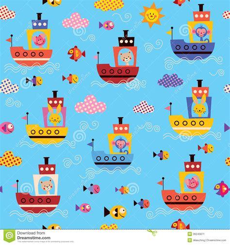 cute kid pattern cute animals in boats kids sea pattern stock vector