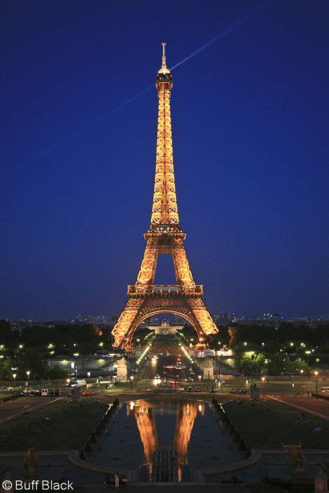 The eiffel tower and its beacon light at twilight viewed from trocadero 1443 buff black