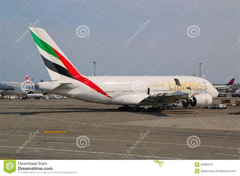 emirates jfk emirates airline airbus a380 at jfk airport in new york