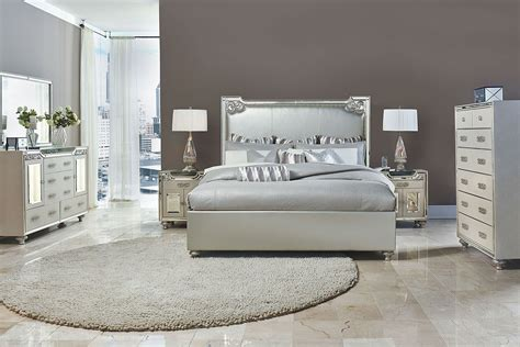 AICO 4 Pc Bel Air Park Upholstered Bedroom Set