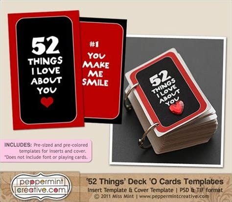 52 things i about you deck of cards template 52 things i about you with free printable inserts