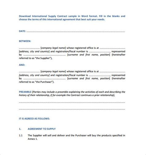 supply agreement template free supply contract template 10 free documents in