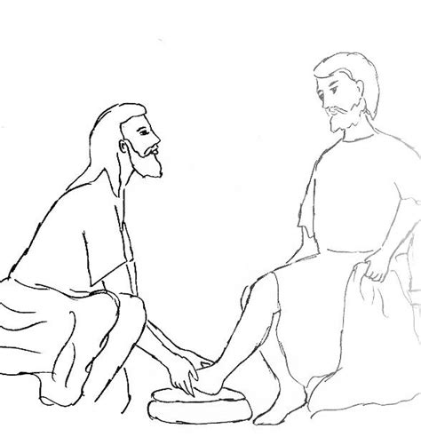 Jesus Washing His Disciples Feet Coloring Pages Jesus Washes The Disciples Coloring Page