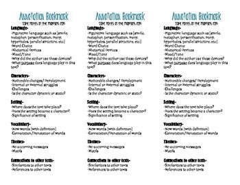 printable bookmarks for high school students annotation bookmarks middle high school by stephanie