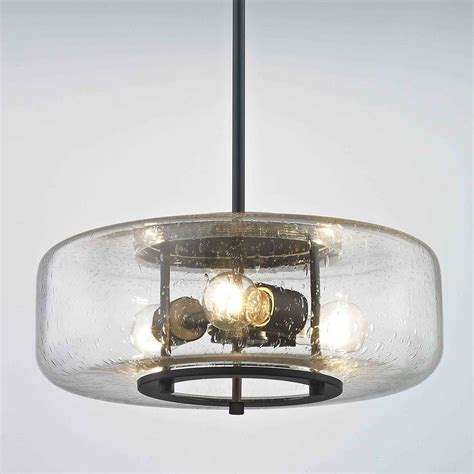 Seeded Glass Industrial Floor L by Industrial Seeded Glass Pendant Light With Lights Bronze