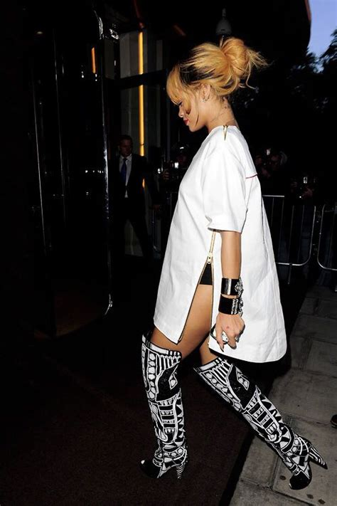 rihanna s knee high boots white style