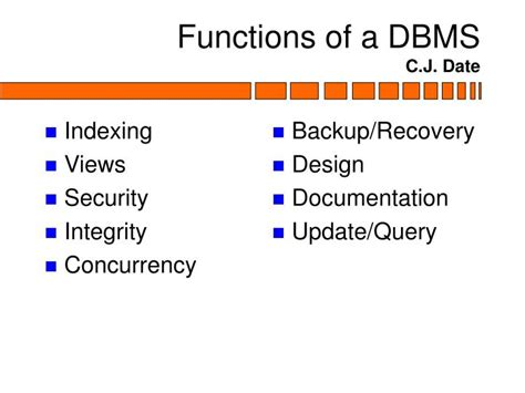 Database Management System Ppt For Mba by Ppt Functions Of A Database Management System Powerpoint