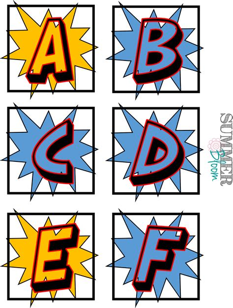 printable superhero font summer bloom teach create party superhero word wall