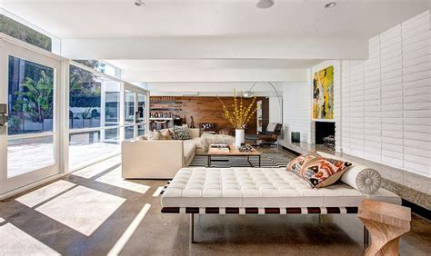 Open Living Room With A Mid Century Modern Style Two Story Mid Century