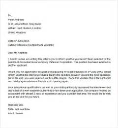 Applicant Cover Letter by Sle Rejection Letter To Applicant Cover
