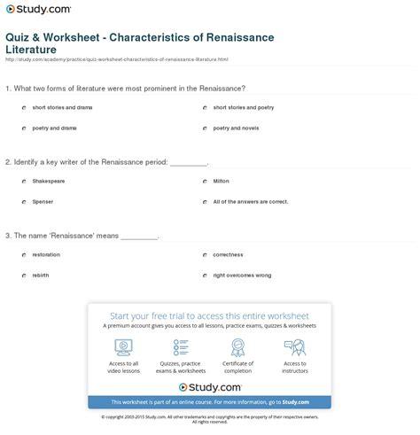 literature characteristics quiz worksheet characteristics of renaissance