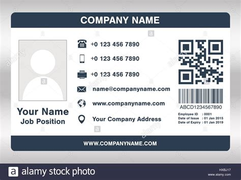 employee id card template simple blue employee id card template vector stock vector