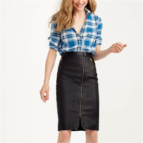 j crew collection leather motorcycle pencil skirt in black