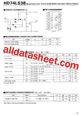 74 Ls 38 7438 74ls38 2 Input Nand Buffer 74ls38 datasheet pdf hitachi semiconductor