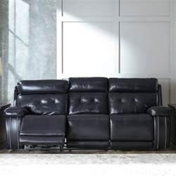 graford navy power recliner sofa with adjustable headrest