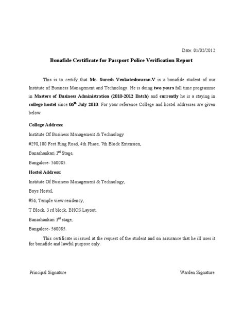 College Bonafide Letter Bonafide Certificate For Passport