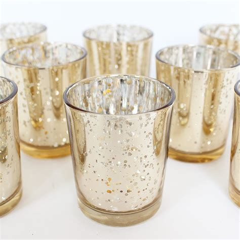 Candles And Glass Holders David Tutera Mercury Glass Votive Gold Candle Holder 2 5