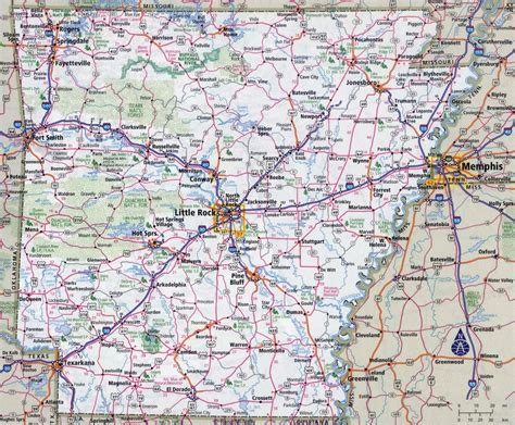 arkansas on the map of usa large detailed roads and highways map of arkansas state