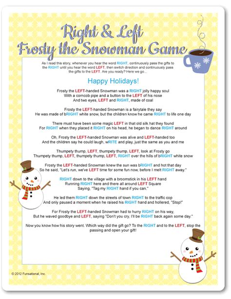 right left frosty the snowman gift exchange printable right left frosty the snowman yellow snowman gaming and