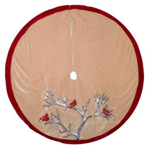 martha stewart tree skirt poinsetta martha stewart living 56 in ivory velvet birds tree skirt 2564413 1ho the home depot