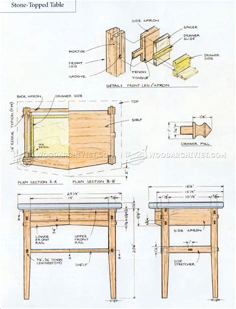 nightstand table woodworking plans woodworking projects stone topped nightstand plans woodarchivist