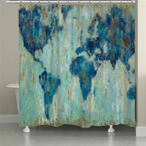 world shower curtain map of the world shower curtain laural home