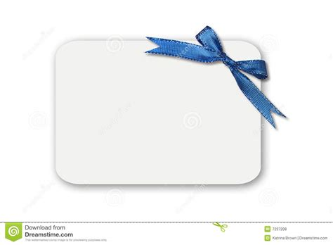 White Gift Card - bow on a white blank gift card royalty free stock photos image 7237208