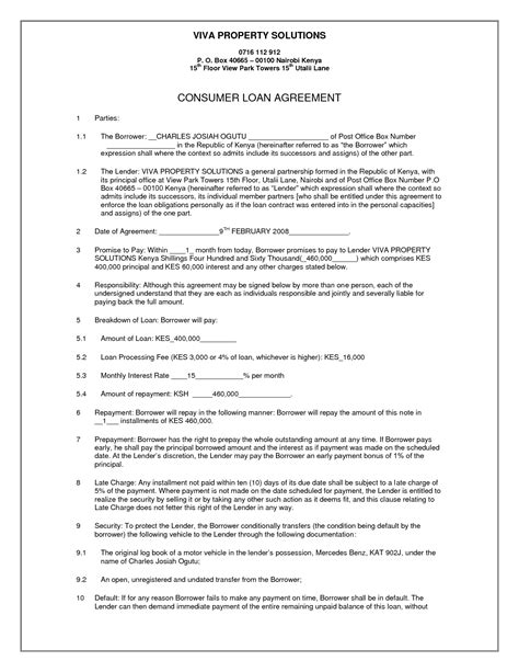 simple interest loan agreement template simple loan contract by vivaproperty simple loan