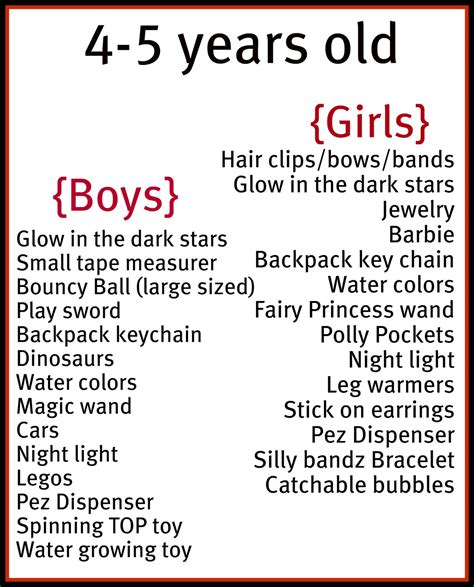 christmas list 5year old boy stuffer ideas by age and gender stuff for stuffers