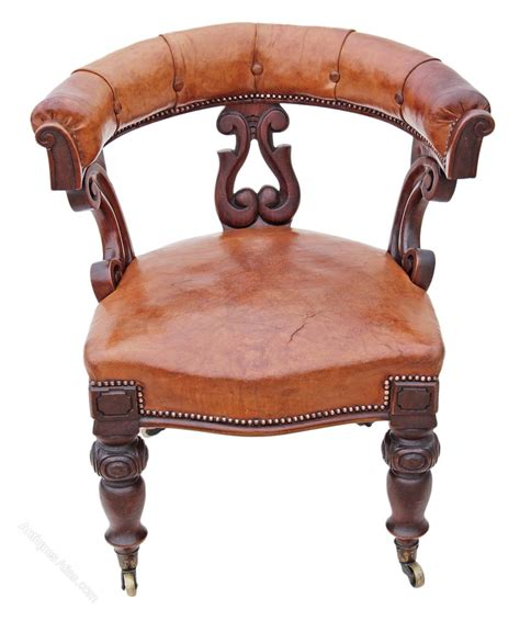 armchair antiques victorian 19c walnut leather library desk armchair
