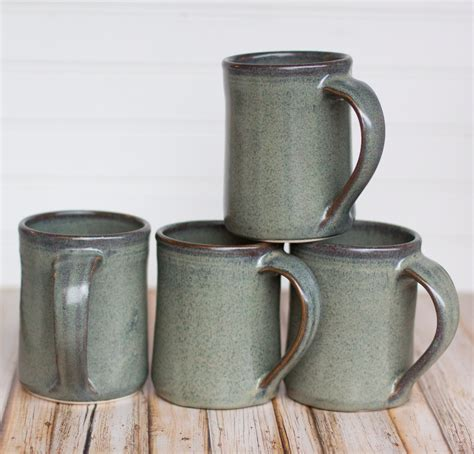 Handmade Pottery Mugs - set of 4 ceramic handmade mugs gray thrown coffee tea