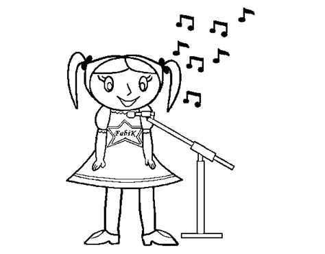Little Girl Singing Coloring Page | little girl singing coloring page coloringcrew com