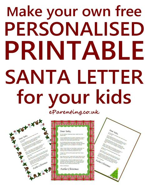 printable personalised father christmas letters