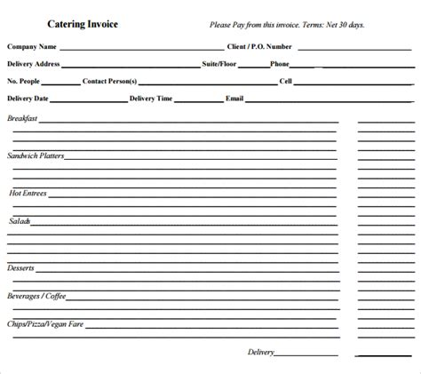 catering template free catering invoice sle 16 documents in pdf