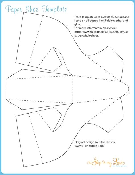 shoe template for card witchshoe