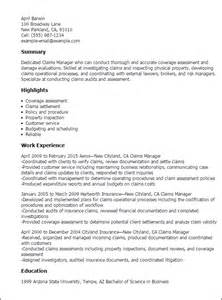 Claims Manager Sle Resume professional claims manager templates to showcase your talent myperfectresume