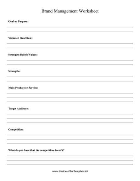 brand management worksheet