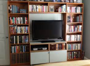 entertainment center bookshelves billy library to entertainment center ikea hackers