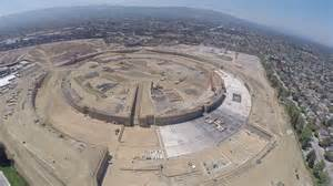 new apple headquarters a drone flew above apple s new spaceship headquarters to