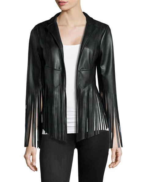 black leather jacket with fringe vakko faux leather fringe jacket in black lyst