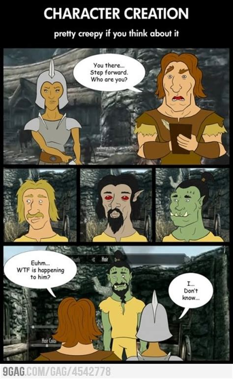 Funny Character Memes - skyrim character creation obsessions pinterest
