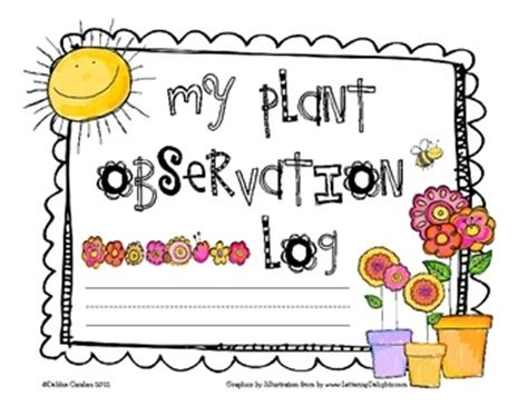 printable plant observation journal primary plant observation log gardens cover pages and