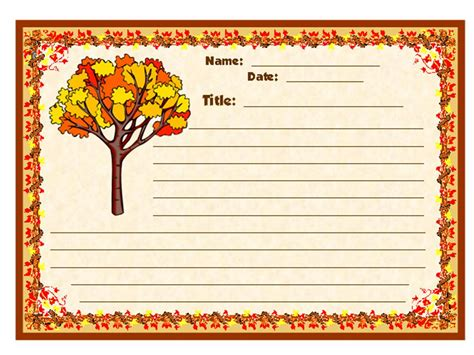 Writing Template For Thanksgiving Cards Kindergarten by Fall In With Writing Stationery Set Other Files