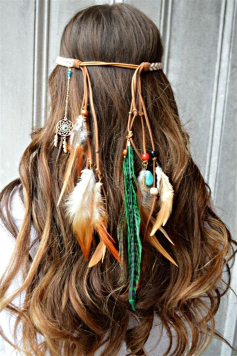 diy hippie hairstyles feather headband made with a gold dream catcher that is