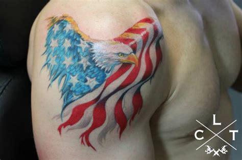 tattoo eagle usa shoulder eagle usa flag tattoo by cesar lopez tattoo
